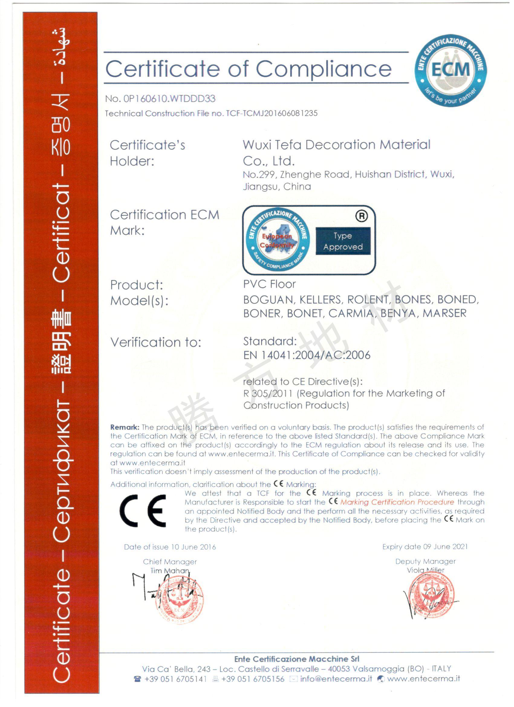 腾方-CE认证证书